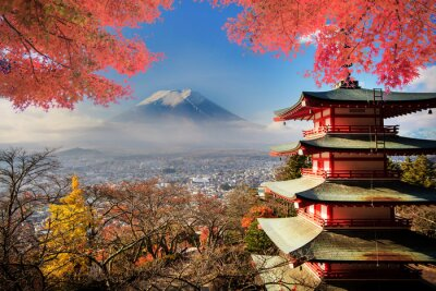 Affisch Mt. Fuji med höstfärger i Japan.