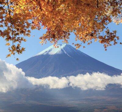 Affisch Mt. Fuji med höstfärger i Japan