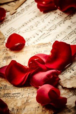 Affisch Musik ark med rosenblad