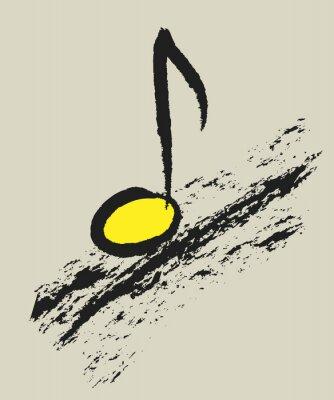 Affisch musik begrepp musikal noterar, design logo
