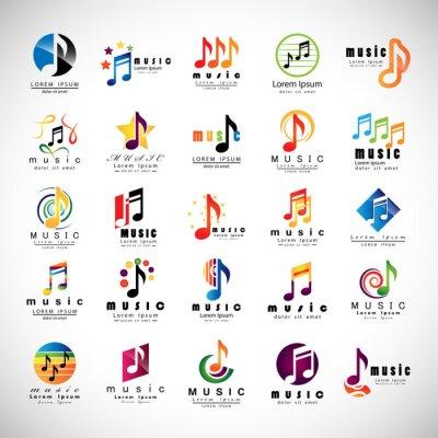 Affisch Musik ikoner Set - isolerat på grå bakgrund