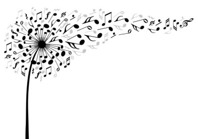 Affisch musik maskros blomma, vektor