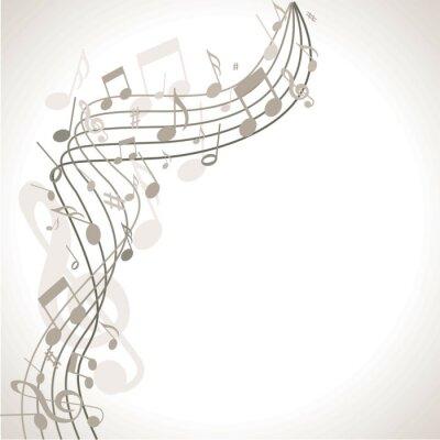 Affisch Musik och dramatisk bakgrund med noter