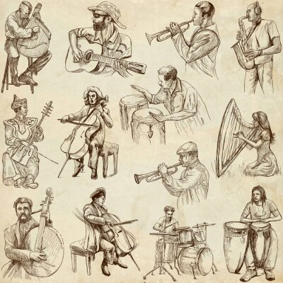 Affisch Musiker och musik över hela världen (in no. 2, papper)