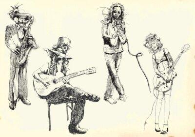 Affisch musiker - samling hand ritningar till vektor