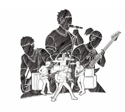 Affisch Musiker som tillsammans spelar musik, musikband, grafisk vektor för konstnär