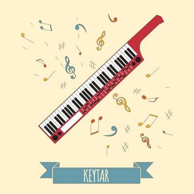 Affisch Musikinstrument grafisk mall. Keytar.