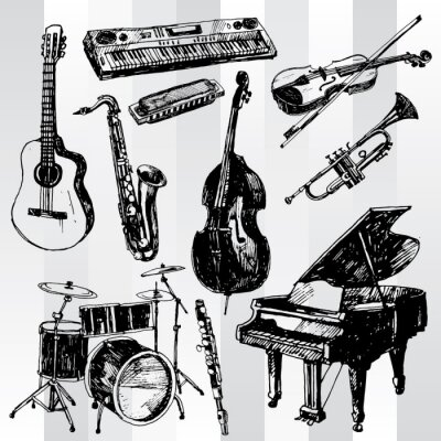 Affisch Musikinstrument Hand Drawn