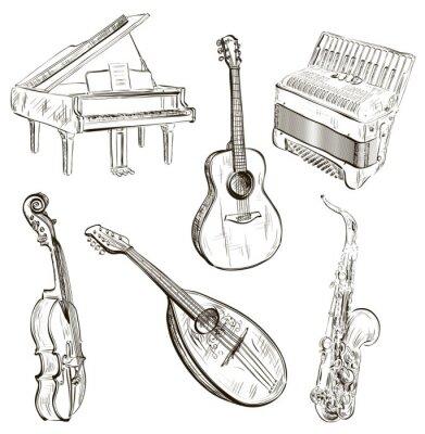 Affisch musikinstrument i skiss stil