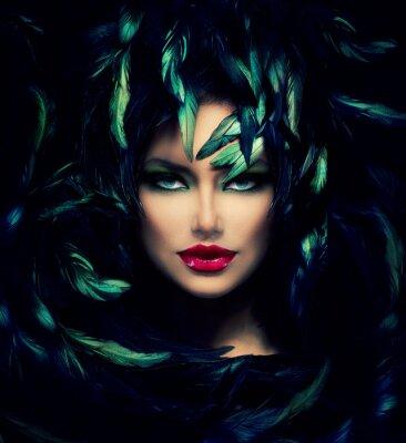 Affisch Mystisk kvinna porträtt. Vacker modell kvinna ansikte Närbild