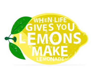 Affisch När liv ger dig citroner, gör lemonad - kalligrafi