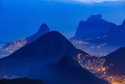 Affisch Natt bild av Rio de Janeiro