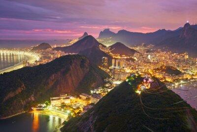 Affisch Natt bild av Rio de Janeiro, Brasilien