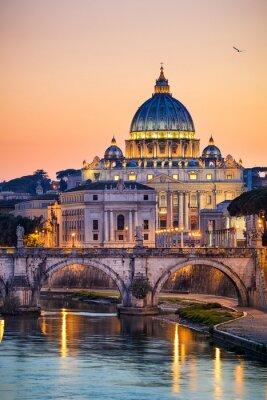Affisch Natt utsikt över basilikan St Peter i Rom, Italien
