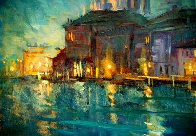 Affisch nattlandskap till Venedig, målning av olja på plywood, illustrat