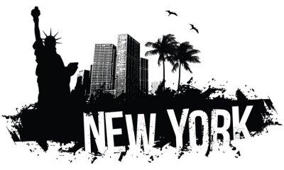 Affisch New York Banners svart
