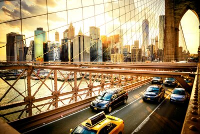 Affisch New York, Brooklyn Bridge skyline