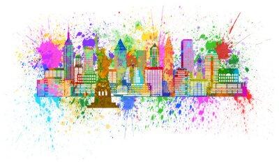 Affisch New York horisont Paint Splatter Illustration