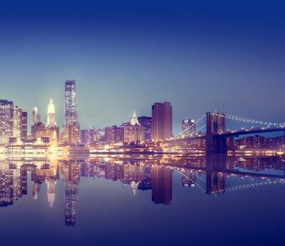Affisch New York Lights Scenic Bridge View Concept