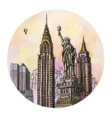 Affisch New York med frihet monument vattenfärg handen ritning, famouse arhitectural buillding isolerad på den vita bakgrunden.