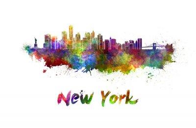 Affisch New Yorks skyline i vattenfärg