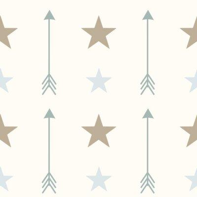 Affisch nordic stil färger pilar och stjärnor sömlösa vektor mönster bakgrund illustration