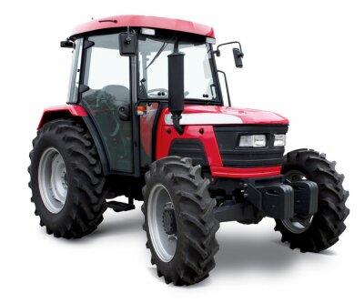 Affisch Ny röd traktor isolerad på vit bakgrund