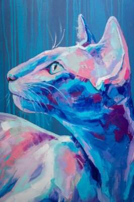 Affisch Oil cat portrait painting in moon tones. Conceptual abstract painting of a cat muzzle. Closeup of a painting by oil and palette knife on canvas.
