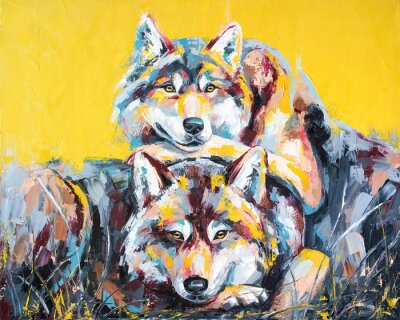 Affisch Oil wolf portrait painting in multicolored tones. Conceptual abstract painting of a couple wolves. Closeup of a painting by oil and palette knife on canvas.