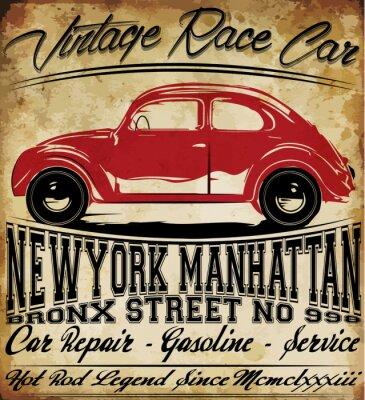 Affisch Old Car Vintage Classic Retro man T-shirt Grafisk design