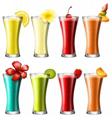 Affisch Olika typer av cocktail i glas
