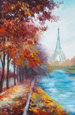 Affisch Olje- målning av Eiffeltornet, Frankrike, höst landskap
