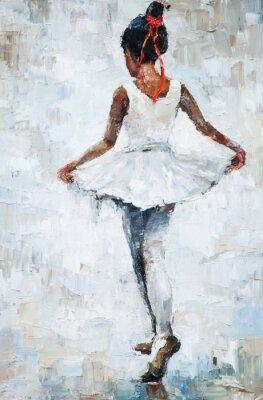 Affisch oljemålning, flicka ballerina. dras söt ballerina dansar