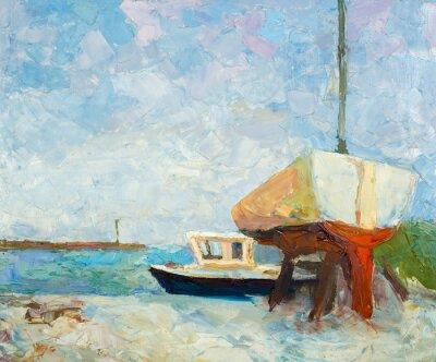 Affisch Oljemålning på duk. Yacht och skepp