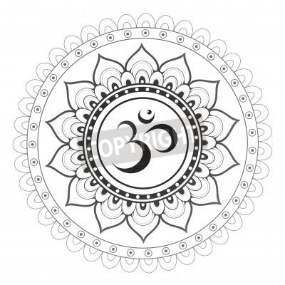 Affisch Om, Aum sanskrit symbol med mandala prydnad
