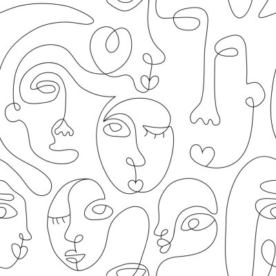 Affisch One line drawing abstract face seamless pattern. Modern minimalism art, aesthetic contour. Continuous line background with woman and man faces. Vector group of people