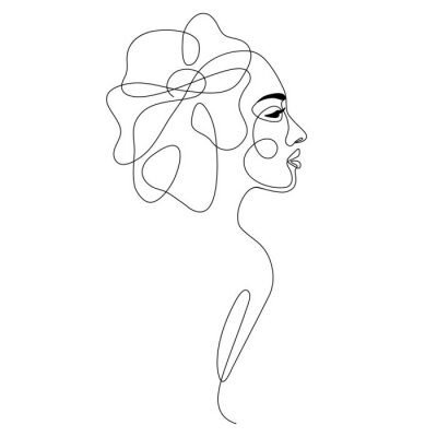 Affisch One line drawing abstract woman face with flower in her hair. Continuous line art female portrait. Modern minimalism, aesthetic contour. Vector beauty illustration