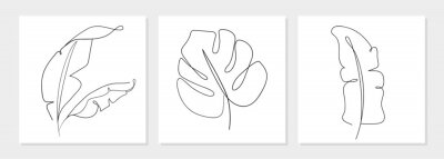Affisch One line drawing vector monstera leaf and banana tree leaves. Modern single line art, aesthetic contour. Perfect for home decor such as posters, wall art, tote bag, t-shirt print, sticker, mobile case