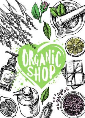 Affisch organic store cosmetics