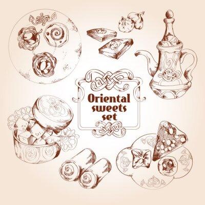 Affisch Orientaliska sötsaker skiss uppsättning