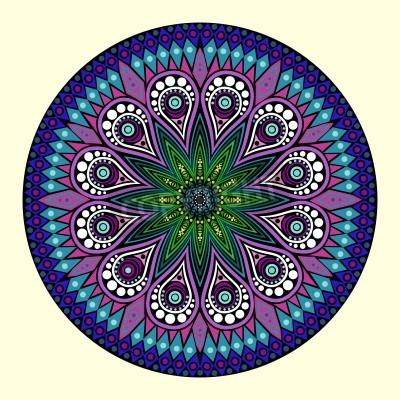 Affisch ornamental runda hålmönster, cirkel bakgrund med många detaljer, ser ut att virka handgjorda spetsar
