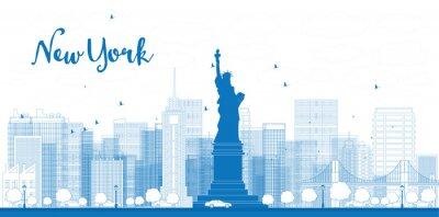 Affisch Outline New Yorks skyline med skyskrapor