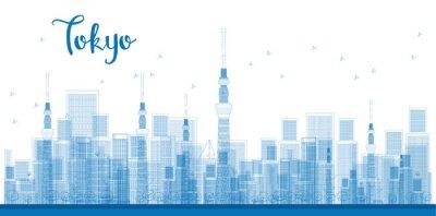Affisch Outline Tokyo City skyskrapor i blå färg.