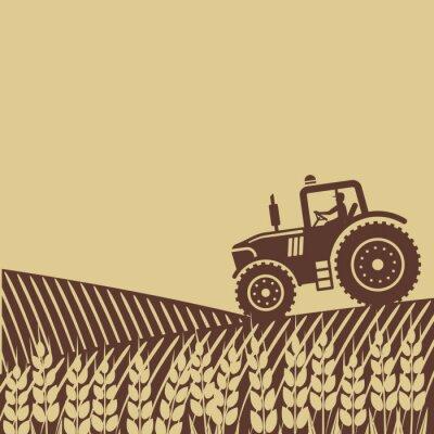Affisch oval etikett med landskapet. traktor i fältet