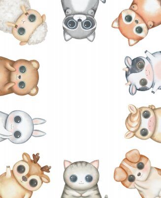 Affisch Oval frame composition with kawaii cartoon cute cat, dog, bear, fox, rabbit, cow, raccoon, deer, sheep and pony isolated on white background. Watercolor hand drawn illustration