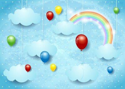 Affisch Overkligt Cloudscape med färgglada ballonger