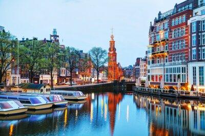 Affisch Översikt över Amsterdam med Munttoren