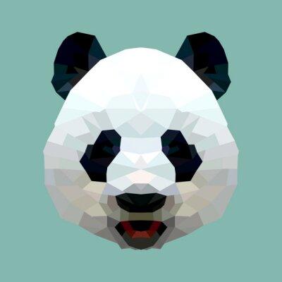 Affisch panda huvudet polygon isolerade vektor