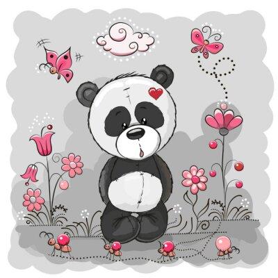 Affisch Panda med blommor