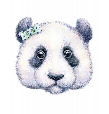 Affisch Panda på vit bakgrund. Vattenfärg ritning. Barns illustration. Handarbete